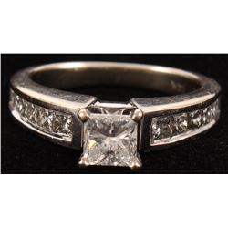 14kt White Gold  Diamond Cathedral Style Engagement Ring