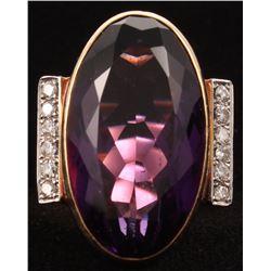 Contemporary 14kt Yellow Gold Amethyst  Diamond Ring