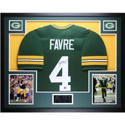 """Brett Favre Signed 35"""" x 43"""" Custom Framed Jersey (Favre COA)"""