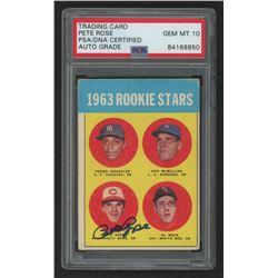 Pete Rose Signed 1963 Topps #537 Rookie Stars Pedro Gonzalez RC / Ken McMullen RC / Al Weis RC / Pet