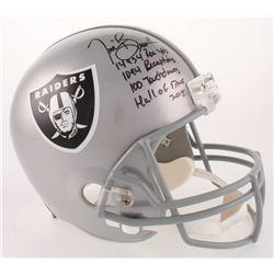 Tim Brown Signed Oakland Raiders Full-Size Helmet with (4) Career Stat Inscriptions (Radtke COA  Bro