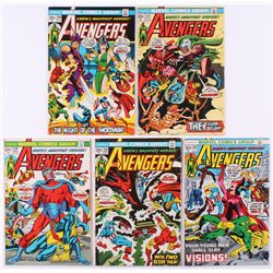 """Lot of (5) 1973 """"The Avengers"""" 1st Series Marvel Comic Books with #110, #111, #113, #114  #115"""
