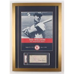 Ted Williams Signed Boston Red Sox 18x25 Custom Framed Personal Bank Check Display With Ted Williams
