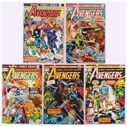 """Lot of (5) 1974 """"The Avengers"""" 1st Series Marvel Comic Books with #120, #121, #122, #123  #124"""