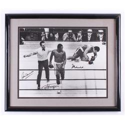 "Muhammad Ali, Joe Frazier,  Arthur Mercante Sr. Signed ""Fight of the Century"" 22x26 Custom Framed Ph"