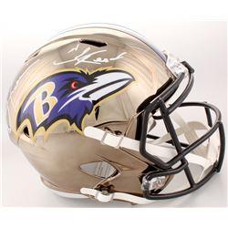Ray Lewis  Ed Reed Signed Baltimore Ravens Full-Size Chrome Speed Helmet (Beckett COA)