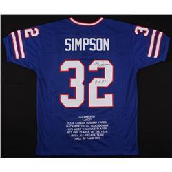 "O.J. Simpson Signed Career Highlight Stat Jersey Inscribed ""H.O.F. 85'"" (JSA COA)"