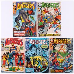 """Lot of (5) 1969-70 """"The Avengers"""" 1st Series Marvel Comic Books with #68, #69, #70, #72  #73"""