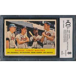 1958 Topps #351 Braves Fence Busters Del Crandall / Eddie Mathews / Hank Aaron / Joe Adcock (BCCG 8)