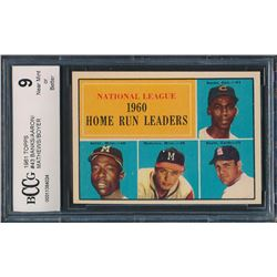 1961 Topps #43 NL Home Run Leaders / Ernie Banks / Hank Aaron / Ed Mathews / Ken Boyer (BCCG 9)