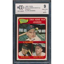 1965 Topps #3 AL Home Run Leaders Harmon Killebrew / Mickey Mantle / Boog Powell (BCCG 9)