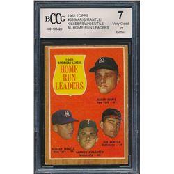1962 Topps #53 AL Home Run Leaders Roger Maris / Mickey Mantle / Jim Gentile / Harmon Killebrew (BCC