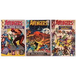 """Lot of (3) 1965-66 """"The Avengers"""" 1st Series Marvel Comic Books with #22, #23  #24"""
