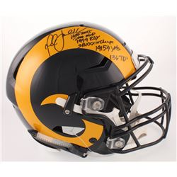 Marshall Faulk Signed St. Louis Rams Full-Size Authentic On-Field SpeedFlex Helmet with Multiple Car