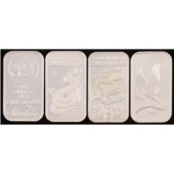 Lot of (4) .999 Fine Silver Buillon Bars with (2) 1 Ounce  (2) 1 Troy Ounce