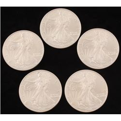 Lot of (5) 2003 $1 American Eagle Silver Dollar Coin