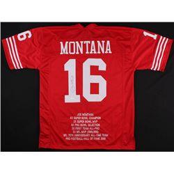 Joe Montana Signed Career Highlight Stat Jersey (JSA COA)