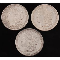 Lot of (3) Morgan Silver Dollars with 1885, 1886,  1921