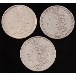 Lot of (3) Morgan Silver Dollars with 1882, 1889,  1921