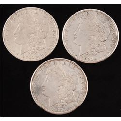 Lot of (3) Morgan Silver Dollars with 1921, 1921-S,  1921-D