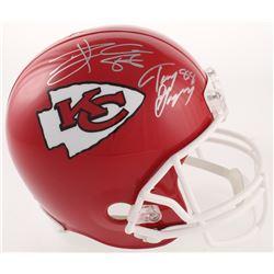 Tony Gonzalez  Travis Kelce Signed Kansas City Chiefs Full-Size Helmet (Beckett COA)