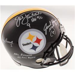 "Jack Lambert, Jack Ham,  Andy Russell Signed Pittsburgh Steelers Full-Size Helmet Inscribed ""HOF 90"""