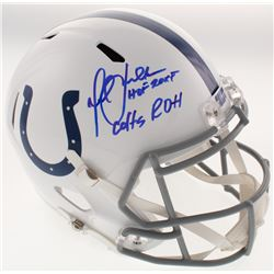 """Marshall Faulk Signed Indianapolis Colts Full-Size Speed Helmet Inscribed """"HOF 20XI""""  """"Colts ROH"""" (B"""