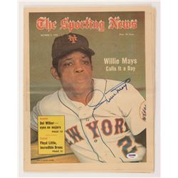 """Willie Mays Signed Vintage 11.5x14.5 """"The Sporting News"""" Newspaper (PSA LOA)"""