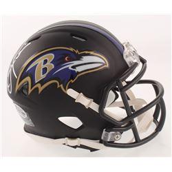 Ray Lewis Signed Baltimore Ravens Matte Black Speed Mini Helmet (Beckett COA)