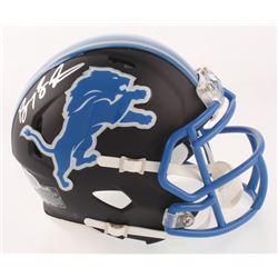 Barry Sanders Signed Detroit Lions Matte Black Speed Mini Helmet (Beckett COA  Schwartz Hologram)
