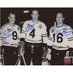 "Gordie Howe, Jean Beliveau  Bobby Hull Signed NHL All-Star Game 8x10 Photo Inscribed ""Mr. Hockey""  """