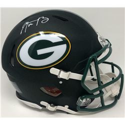 Aaron Rodgers Signed Green Bay Packers Full-Size Matte Black Speed Helmet (Fanatics Hologram)