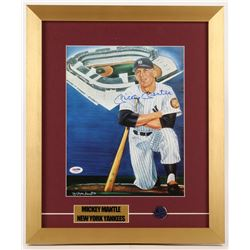 Mickey Mantle Signed New York Yankees 15x18 Custom Framed Print Display with Yankees Pin (PSA LOA)