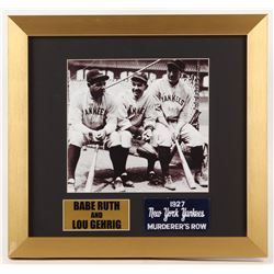 Babe Ruth  Lou Gehrig New York Yankees 14x15 Custom Framed Photo Display with Yankees Patch