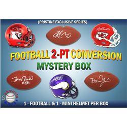Schwartz Sports 2-Pt Conversion Full Size Football/Mini Helmet Signed Mystery Box - Series 4 (Limite