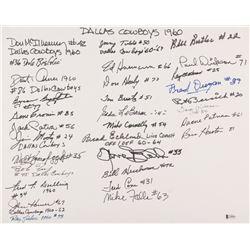 1960s Dallas Cowboys 16x20 Cardboard Flat Signed by (32) with Eddie LeBaron, Fred Cone, Fred Dugan,
