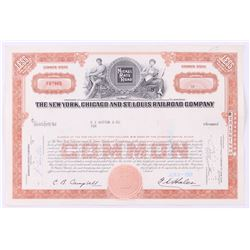 """Vintage 1961 """"The New York, Chicago and St. Louis Raildroad Company"""" (10) Shares Stock Certificate"""