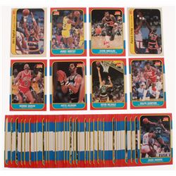 Lot of (63) 1986-87 Fleer Basketball Cards with Stickers #6 Patrick Ewing, #97 Ralph Sampson RC, #13