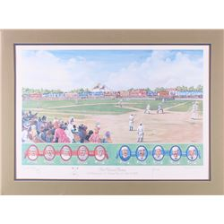 """""""The National Pastime"""" 22.5x30 Artist Proof Custom Matted Lithograph Display with Sketches"""