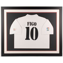Luis Figo Signed Real Madrid 35.5x43.5 Custom Framed Jersey Display (JSA COA)