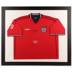 David Beckham Signed England 33.5x39.5 Custom Framed Jersey Display (JSA ALOA)