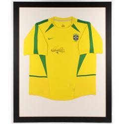 Ronaldo Signed Team Brazil 35.5x43.5 Custom Framed Jersey Display (JSA COA)
