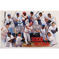"""""""3000 Hit Club"""" 25x38 Poster Signed by (13) with Pete Rose, Stan Musial, Al Kaline, Carl Yastrzemski"""