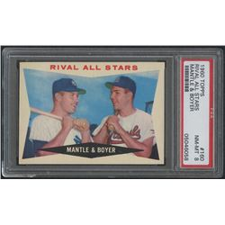 1960 Topps #160 Rival All-Stars / Mickey Mantle / Ken Boyer (PSA 8)