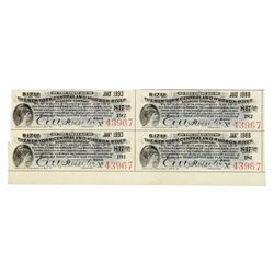 Uncut Sheet of (4) 1897 $17.50 Seventeen Dollars and Fifty Cents New York Central and Hudson River R