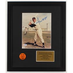 Willie Mays Signed New York Giants 16x19 Custom Framed Photo Display with 1953 New York Giants Pin (