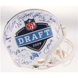 2009 NFL Draft Full-Size Helmet Signed by (30) with Matthew Stafford, Alex Mack, Jeremy Maclin, Bria