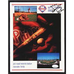 Harry Kalas Signed 1995 Philadelphia Phillies Spring Training Program with Inscription (JSA COA)