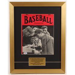 Joe DiMaggio Signed New York Yankees 15x19 Custom Framed Magazine Display (PSA LOA)