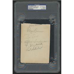 4.5x5.75 Cut Signed by (9) With Bobby Doerr, Clark Griffith, Doc Cramer, Bucky Dent (PSA Encapsulate
